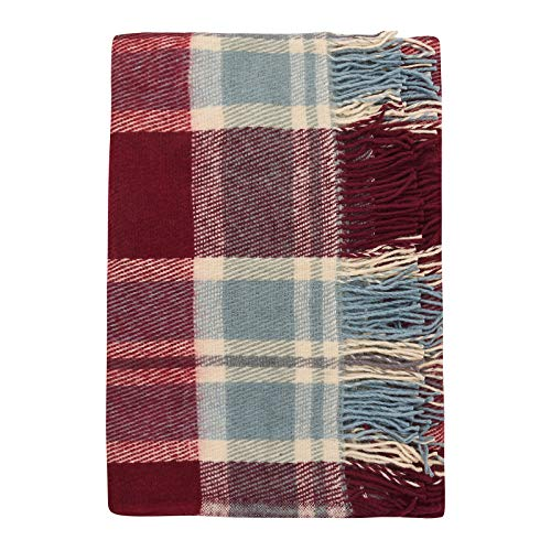 Cozy Blankets   Mantas 100% de Lana de Nueva Zelanda   Tartán Burdeos y Azul   170 x 200 cm Cama, Hogar, Exteriores y Acampadas   Lavable, Suave, Diseño de Cuadros