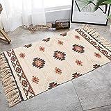 N&N Alfombra marroquí de algodón natural con borla, alfombra tejida para salón, dormitorio, piso para cocina, baño, puerta de 60 x 90 cm