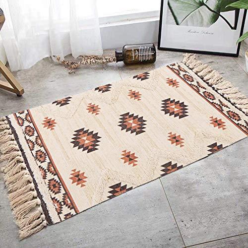 N&N Tapis marocain en coton naturel tufté Tapisserie Tapis tissé avec pompons Petit tapis Salon Chambre Tapis de sol pour cuisine Salle de bain Paillasson 60 x 90 cm