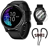 Garmin Venu Amoled GPS Smartwatch (Black) with Deco Gear Earbuds and Screen Protectors