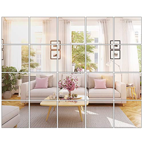 BBTO 20 Pieces Mirror Sheets Self Adhesive Non Glass Mirror Tiles Wall Sticky Mirror (6 x 6 inch)