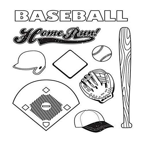 Karen Foster 9-teiliges Stempel-Set mit Baseball-Motiv, transparent
