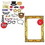 Aufblasbarer Fotorahmen XXL Gold inkl. 20 Requisiten  