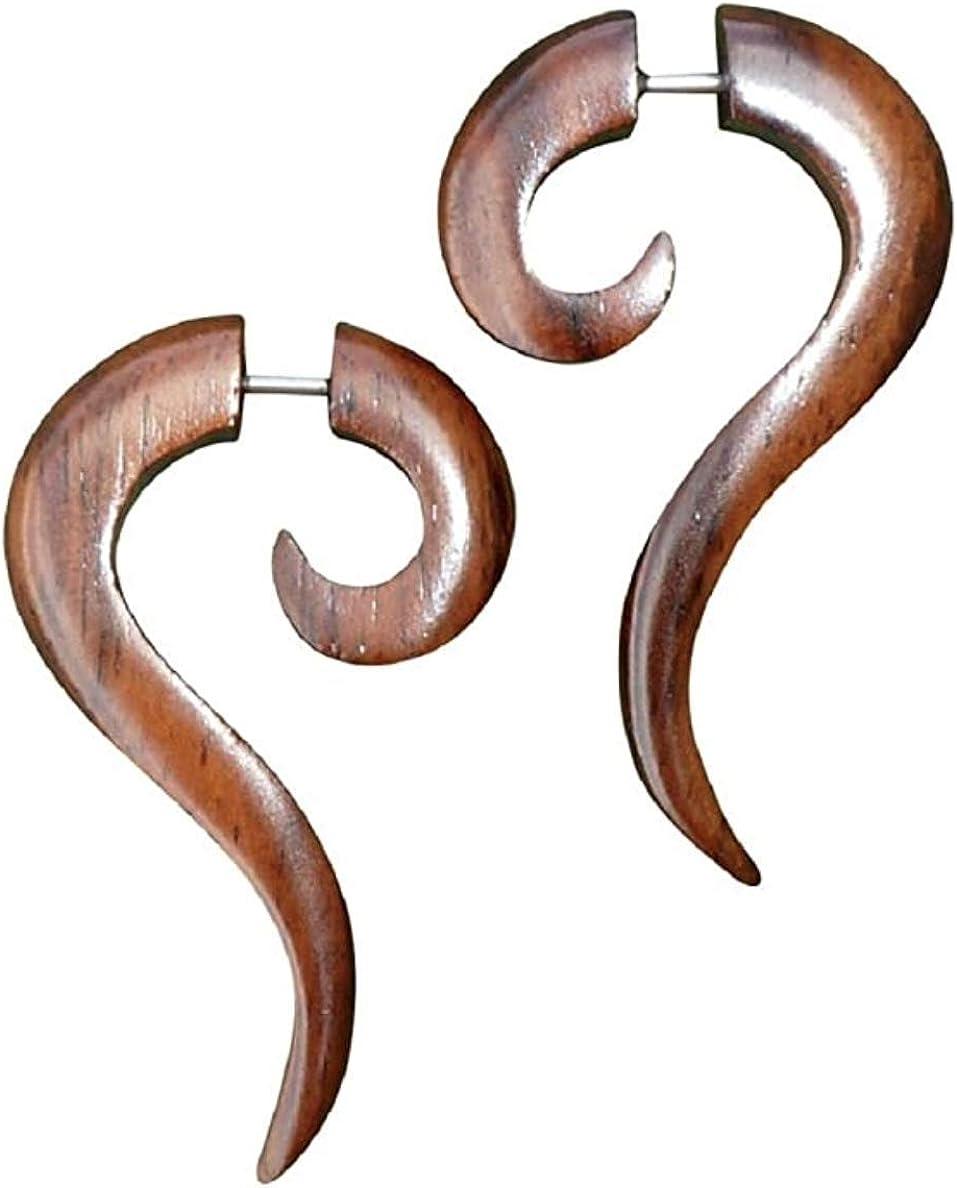 UMBRELLALABORATORY Natural Tribal Organic Wooden Earrings Fake Gauges Sold As Pair Bohemian Jewelry for Yoga,Meditation, Beach