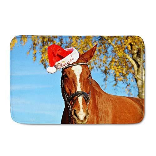 Amzbeauty Fußmatte mit Sonnenblumen-Motiv, lustig, Weihnachten, Pferd, Katze, Pinguin, für drinnen und draußen, rutschfest Chinesisch 15.7