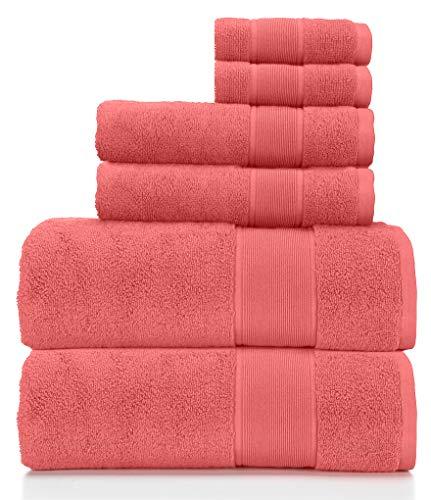 Ralph Lauren Sanders Handtuch-Set, Rosérot, 2 Badetücher, 2 Handtücher, 2 Waschlappen, 6 Stück