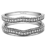 TwoBirch 0.48 Ct. Contour Ring Guard with Millgrained Edges and Filigree Cut Out Design in Sterling Silver with Cubic Zirconia (Size 7)
