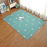 LIVEINU Baumwolle Tatami Teppich mit Anti-Rutsch Unterstützung Faltbarer Abwaschbarer Kinderteppich Spielteppich Babyteppich Fußboden Krabbeldecke 90x90cm Kaninchen Grün