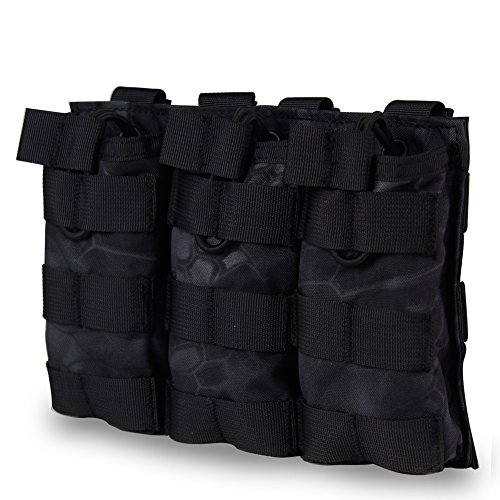 M4 M16 AR-15 HK416 Type Magazine Pouch Triple Mag Holder Open-Top Military Airsoft Mag Pouch Tactical Backpack Vest Molle Accessories (Black Camouflage) -  WST, WoSporT-MG-13-Camo-TY