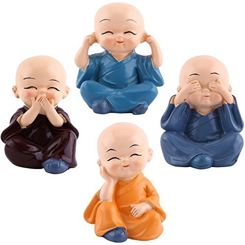 4pcs Cute Little Monks Monks Figurine Statue, Cute Little Monks Hear No Evil See No Evil Speak No Evil Do No EvilStatue Wealth Lucky Figurine Home Baby Buddha Decor Gift