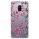 dakanna Coque pour [Samsung Galaxy A8 Plus 2018] en Silicone Souple, Design [Motif de Fleurs Rouges...