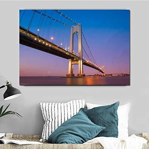 Póster de puente de gran tamaño, arte de pared moderno, pintura en lienzo, paisaje de la ciudad, imagen impresa en HD para la decoración de la sala de estar, 30x45 cm sin marco