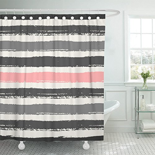 Emvency Shower Curtain Watercolor Pastel Pink Light and Dark Gray Stripes Brush Waterproof Polyester Fabric 72 x 72 Inches Set with Hooks