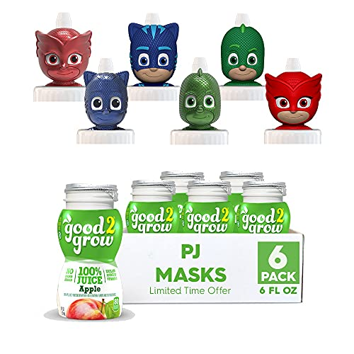 NEW good2grow PJ Masks Character 6 Pack Apple Juice, 6-Ounce Spill Proof Character Top Bottles, Non-GMO with no Sugar Added and Excellent Source of Vitamin C