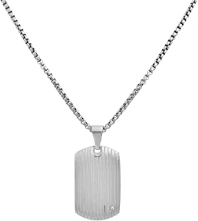 Stainless Steel Men's Dog Tag Necklace with Cubic...