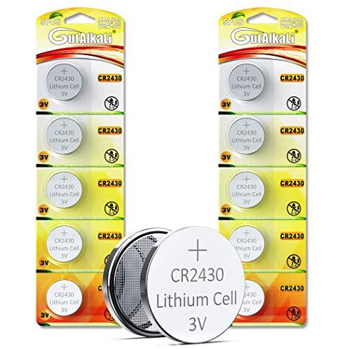 GutAlkaLi Batterie au Lithium Pile Bouton (CR 2430, Blister de 10 Piles Lithium 3V)