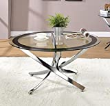 COASTER CO-702588 Norwood Coffee Table with Tempered Glass Top, 35.5'D x 35.5'W x 19'H, Chrome and Clear
