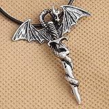 AOAOTOTQ Co.,ltd Collar con Colgante para Hombre, Collar de Metal Vintage con alas de dragón, Espada Cruzada, Collares góticos Punk Rock, diseño único