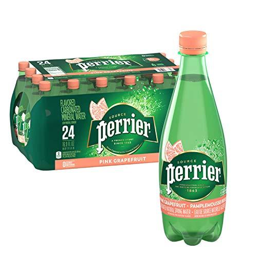Perrier Pink Grapefruit Flavored Carbonated Mineral Water, 16.9 fl oz. Plastic Bottles (Pack of 24)