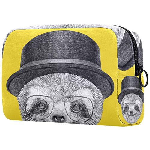ATOMO Bolsa de maquillaje, bolsa de viaje para cosméticos, bolsa de aseo grande, organizador de maquillaje para mujeres, retrato de perezoso con sombrero y gafas