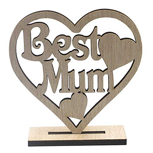 Happy Mother's Day & Best Mum Wooden Heart Shaped Display Stand Ornament for Mother's Day / Happy Mother's Day & Best Mum Wooden Heart Shaped Display Stand Ornament for Mothers' Day