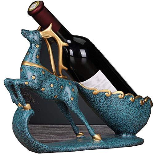 ZKHD Inicio Creativo Sika Deer VINOS DE VINOS DE Decoración, Decoración De La Sala De Vino Decoración De La Sala De Vino, Sala De Estar De La Sala De Vino,Azul