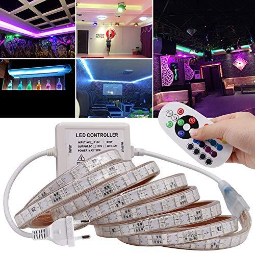 Xunata - Kit di strisce LED RGB, impermeabili IP67, telecomando a 24 pulsanti, SMD 5050, AC 220 V 240 V, illuminazione per interni, con alimentatore 4m 120 Leds/M