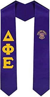 Delta Phi Epsilon DPHIE Greek Lettered Graduation Sash Stole With Crest