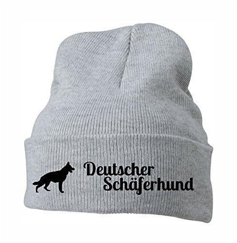 Siviwonder Strickmütze - Deutscher SCHÄFERHUND German Shepherd Alsatian - Stickerei Hund Winter Mütze Wintermütze Beanie Mütze hellgrau-schwarz