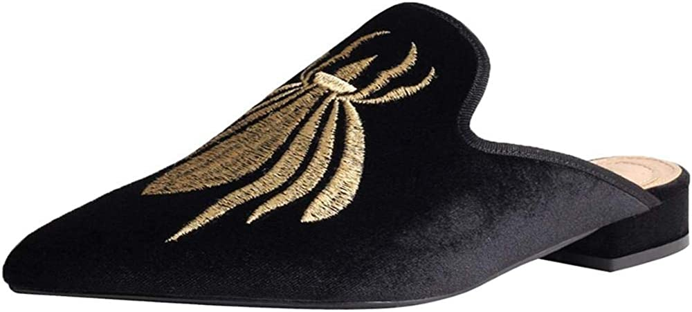 Axellion Surprise price Loafers Max 82% OFF for Women Embroidery Mules Sli Velvet Backless