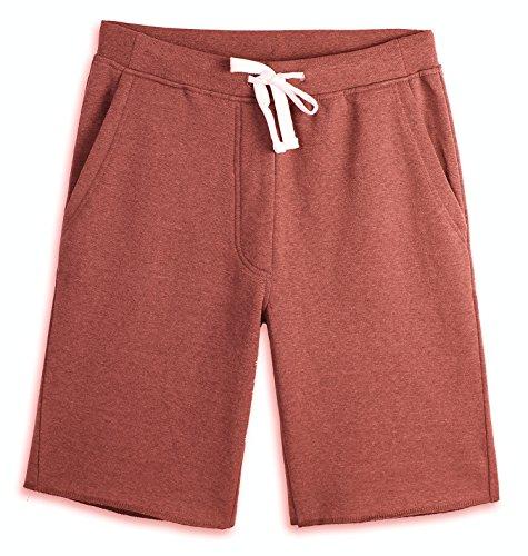 HARBETH Men's Casual Soft Cotton Elastic Fleece Jogger Gym Active Pocket Shorts Rusty M