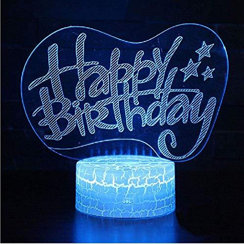 3D-Lampe mit Geburtstagsmotiv,LED-Nachtlicht,mehreren Farben,Touch,Mod-Lampe,Weihnachtsgeschenk,Fernbedienung