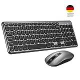 TOPELEK Tastatur Maus Set Wireless, Funktastatur und Funkmaus, Wasserdicht Tastenkappen mit 3-Ebene DPI Silent Funkmaus, und 2 in 1 Nano USB Empfänger