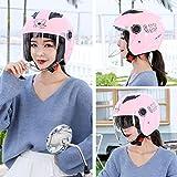 HZ Crazy helmet Casco Moto Jet ECE Homologado, Pantalla de Espejo Doble Antivaho HD Cuatro Estaciones Universales (Máscara de Bolsa de Polvo de Agente Antiniebla de Regalo),Rosado
