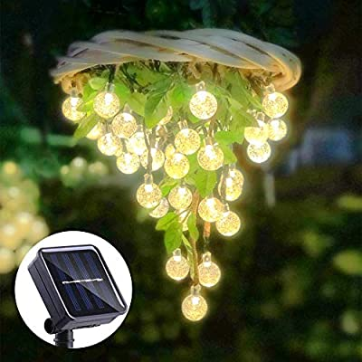 ALOVECO Solar String Lights Outdoor 25ft 40 LED Crystal Ball Crystal Balls Waterproof LED Fairy Lights Outdoor Starry Lights Solar Powered String Light for Garden Yard Home Party Wedding Decoration