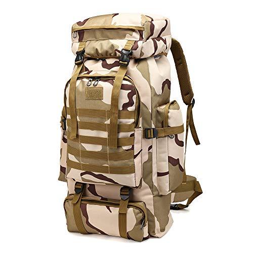 Greenpromise Outdoor 80L Grande Capacità Militare Zaino Tattico Zaino Alpinismo Borsa Campeggio Escursionismo Militare Camo Impermeabile, Plateau Camouflage, 72*34*17cm