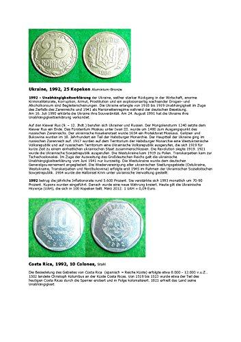 Kalenderblatt zum Jahr 1992: Zur Geschichte der Ukraine und Costa Ricas (25 Kopeken der Ukraine und 10 Colones von Costa Rica des Jahres 1992)