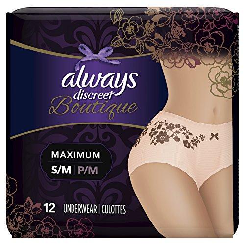 Always Discreet Boutique, Incontinence & Postpartum Underwear for Women, Maximum Protection, Peach, Small / Medium, 12 Count