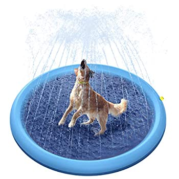 Peteast Splash Sprinkler Pad for Dogs Dog Bath Pool Thickened Durable Bathing Tub Pet Summer Outdoor Water Toys L