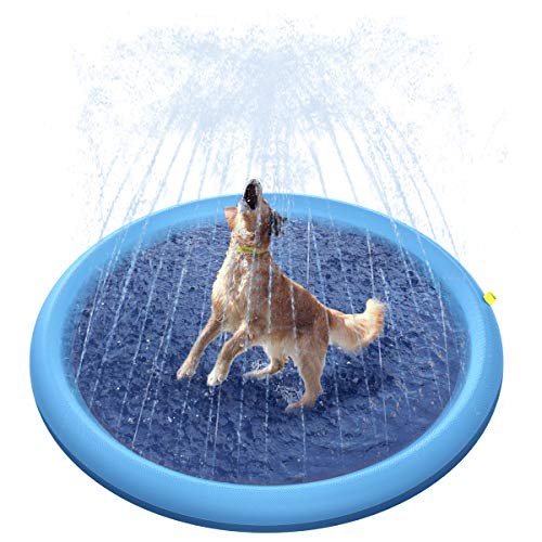 Peteast Splash Sprinkler Pad for Dogs Kids, Dog Bath Pool Thickened Durable Bathing Tub Pet Summer Outdoor Water Toys, L