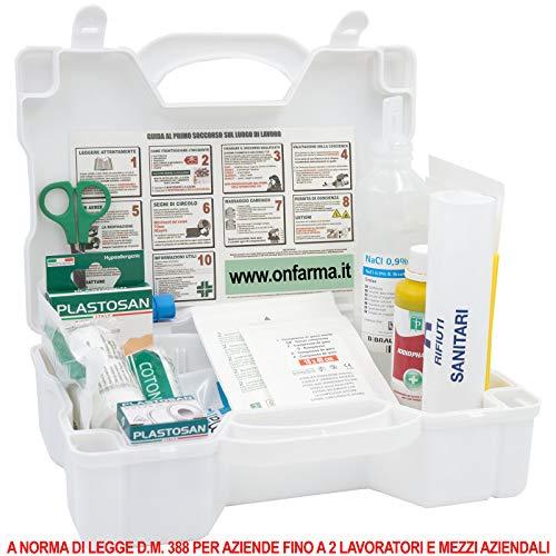 FARMA 3 Bianca Erste-Hilfe-Kassette DM 388 Anhang 2 für Unternehmen bis zu 2 Vollständige Erste-Hilfe-Schilder