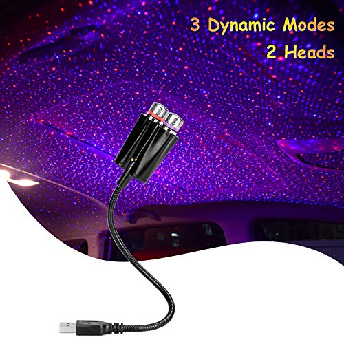 Autoinnenbeleuchtung, WATACHE USB-Atmosphäre Nachtlicht 3 dynamische Modi Romantische Projektordekoration für Decke, Auto, Schlafzimmer, Party-LED-Dachsterne, Rot Blau