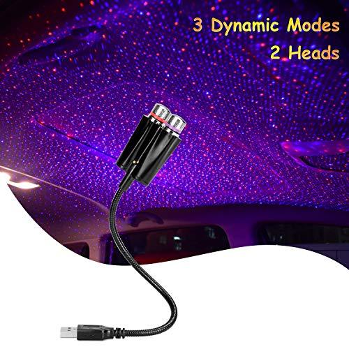 Éclairage intérieur de voiture, veilleuse d'atmosphère USB 3 modes dynamiques Décoration de projecteur romantique pour plafond, voiture, chambre à coucher, étoiles de toit de fête à LED, Rouge/Bleu