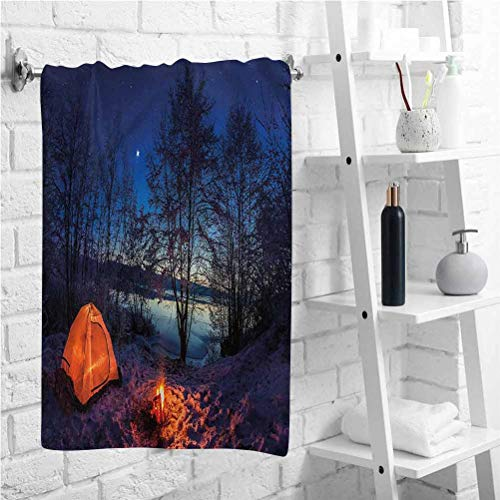W 19 X L 39 inch Sports Towel,Tent in Winter Camp at Night,Best Swimming Bath Towel,Soft and Quick Dry Swim Towels