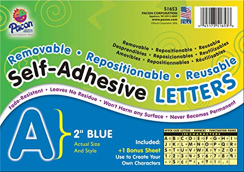 """Pacon PAC51653 Self-Adhesive Letters - Removable, Repositionable, Reusable, 2"""", Blue, 159 Pieces"""