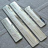 Protector de umbral de puerta lateral de placa de desgaste de umbral de coche accesorios de coche antidesgaste de acero inoxidable para Mitsubishi Lancer/Lancer X/Lancer Evo 2008-2013, 4 unids / set
