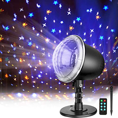 Star Projector, Night Light Projector for Kids, Indoor Outdoor Holiday Projector Lights with Remote Control, Waterproof LED Projector Landscape Light for Bedroom Garden Wedding Party Christmas Gift