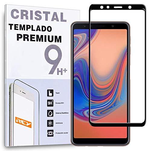 REY Protector de Pantalla Curvo para Samsung Galaxy A7 2018, Negro, Cristal Vidrio Templado Premium, 3D / 4D / 5D