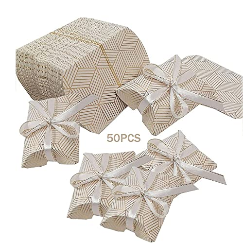 50PCS Cajas de Dulces de Papel para Almohadas, Caja de Dulces de Papel, Cajas de Regalo de Cartón para Fiestas, Cajas de Papel de Caramelo, Cajas de Regalos con Forma de Almohada(Dorado)