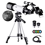 MAXLAPTER Kids Telescope for Adults Astronomy Beginners, 70mm Travel Refractor Telescope with Adjustable 47inch Tripod, Smartphone Adapter, Camera Shutter Wire Control, Backpack and Moon Filter